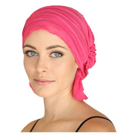 Chemo Beanies Carol Hot Pink Ruffle