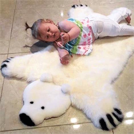 Baby Irish Sheepskin Polar Bear Rug