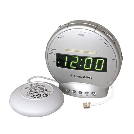 Sonic Boom Alarm Clock and Telephone Signaler with Super Shaker