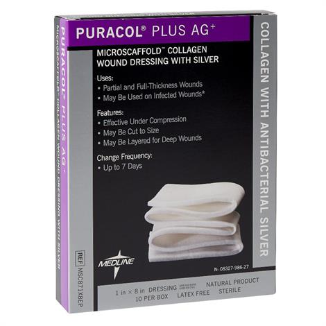 Medline Puracol Plus AG Collagen Rope Dressing with Antimicrobial Silver