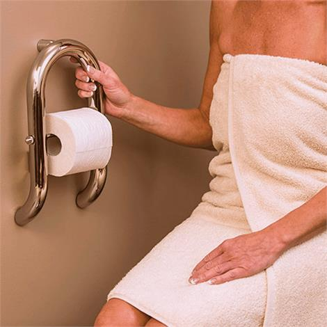 HealthCraft Invisia 2-in-1 Toilet Roll Holder With Integrated Grab Bar