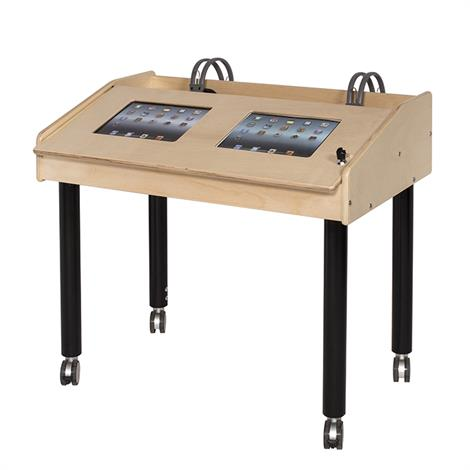 Buy Childrens Factory Angeles 2-Station Double Wide Ipad Air Technology Table With Adjustable Legs