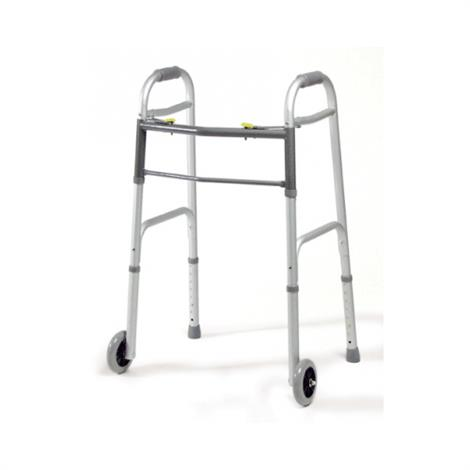Graham Field Lumex Dual-Release Folding Walker With Fixed Wheels