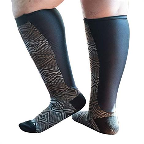 Xpandasox Plus Size/Wide Calf Geometric Knee High Compression Socks