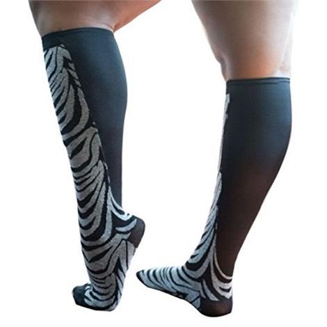Xpandasox Plus Size/Wide Calf Cotton Blend Zebra Knee High Compression Socks