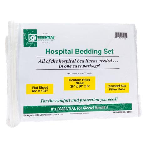 Essential Medical Hospital Bed Set with Jersey Knit Fitted Sheet