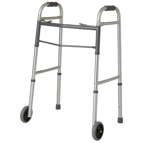 Guardian Easy Care Folding Walker With 5 Inch Fixed Wheels