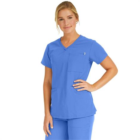 Medline Berkeley Ave Women Stretch Fabric Tunic Scrub Top With Pockets Ceil Blue