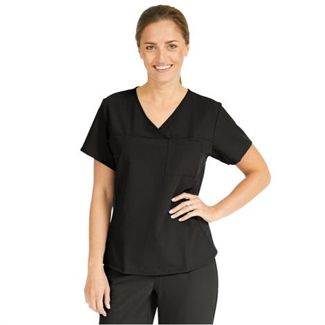 Medline Berkeley Ave Women Stretch Fabric Tunic Scrub Top With Pockets Black