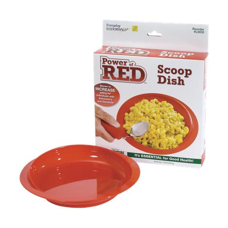 Essential Medical Power of Red Scoop Dish with Suction Bottom