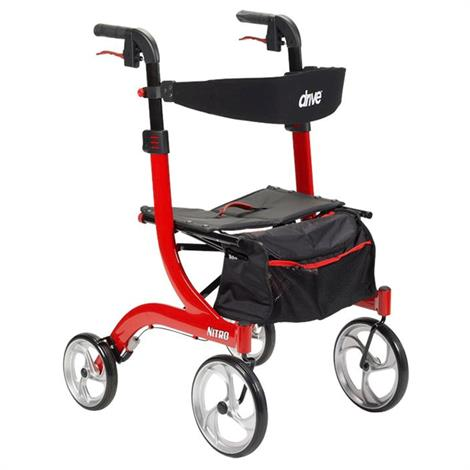 Drive Nitro Euro-Style Hemi Height Aluminum Four Wheel Walker Rollator