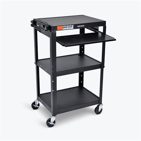 Luxor Adjustable Height Steel A/V Cart With Pullout Tray