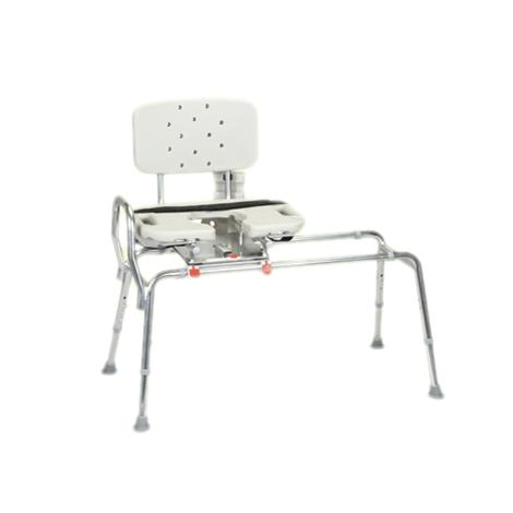 Snap N Save Sliding Transfer Bench With Cut-Out Molded Swivel Seat and Back