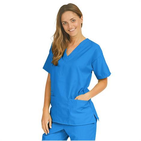 Medline PerforMAX Ladies V-Neck Tunic Scrub Tops - Royal Blue