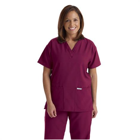 Medline PerforMAX Ladies V-Neck Tunic Scrub Tops - Wine