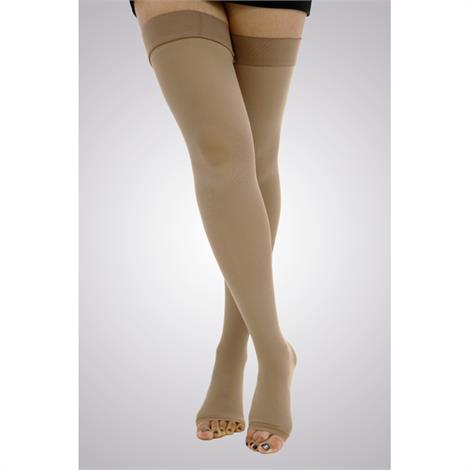 Gabrialla Unisex Microfiber Open Toe Thigh High 25-35mmHg Firm Compression Stockings