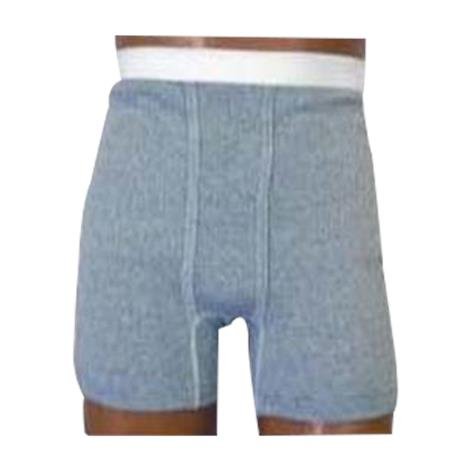 OPTIONS Mens Gray Boxer Brief With Built-In Ostomy Barrier Support