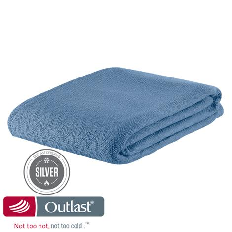 Outlast Not Too Hot Not Too Cold Temperature Regulating Wool Blend Chevron Blanket
