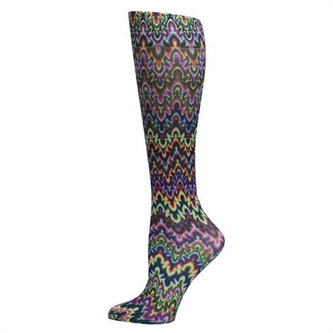 Complete Medical Blue Fleur Missoni 8-15 mmHg Knee High Compression Socks