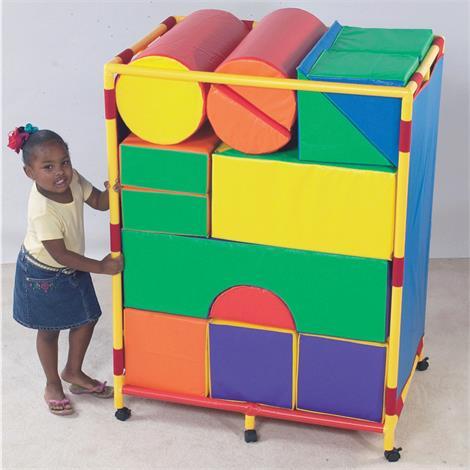 Childrens Factory Soft Big Block Trolley Set