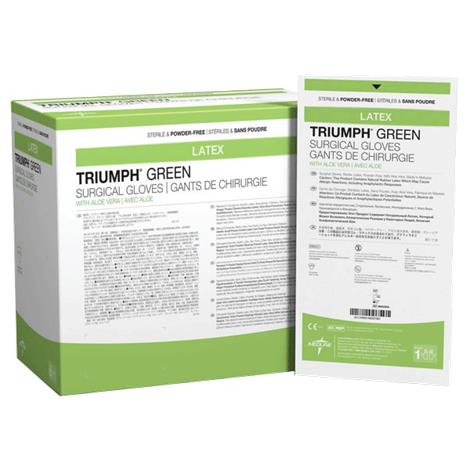 Medline Triumph Green With Aloe Vera Surgical Gloves