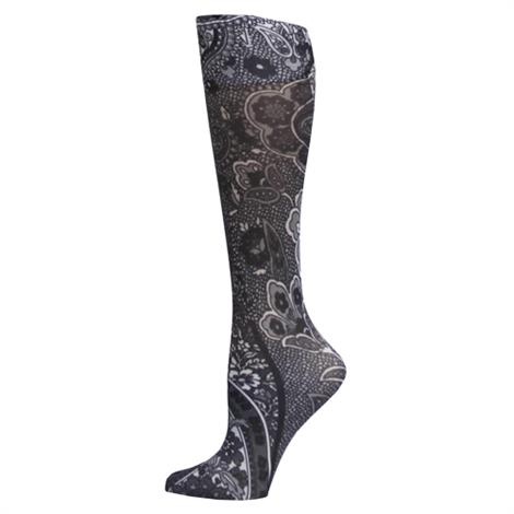Complete Medical New Black Paisley Knee High Compression Socks