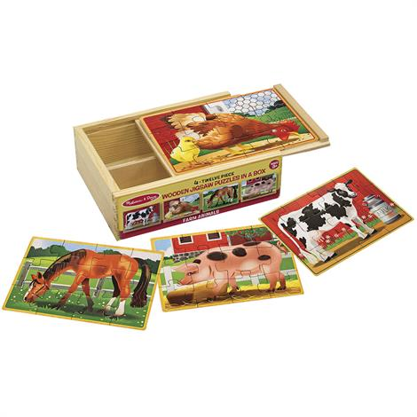 Melissa & Doug Farm Animals Jigsaw Puzzles In A Box