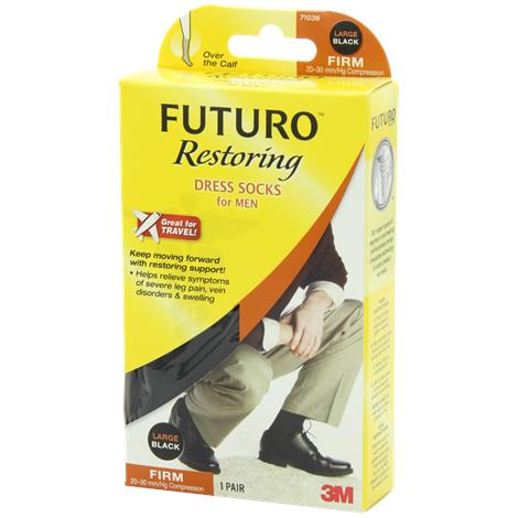 Futuro 20-30mmHg Firm Compression Restoring Dress Socks for Men