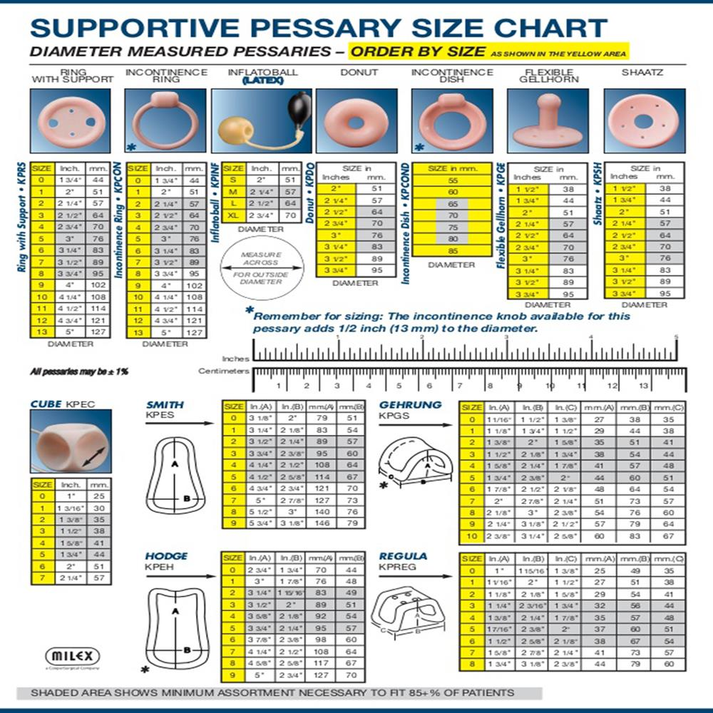 Shop Catheters Pessaries Size Charts